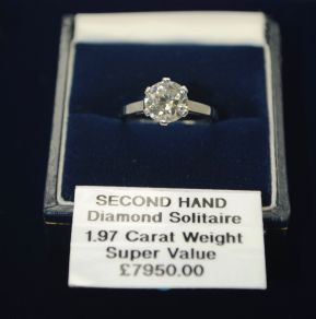 Vintage French Platinum 1.97ct Diamond Solitaire Ring UK Size L US Size 6